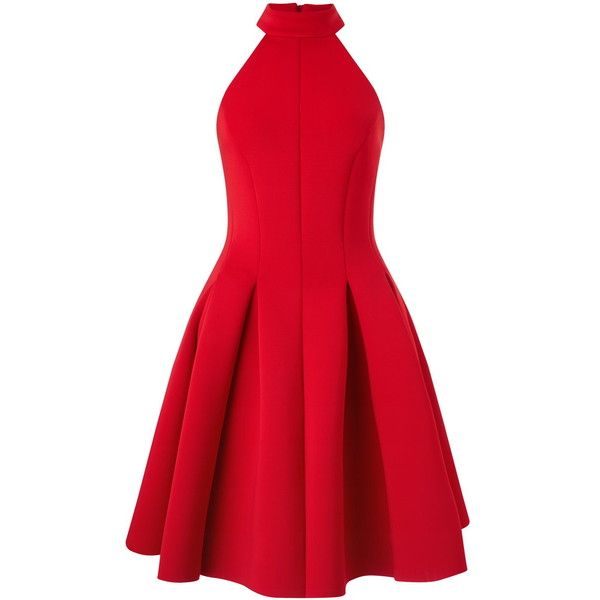 Miss Selfridge Halter Scuba Skater Dress ($85) ❤ liked on Polyvore featuring dresses, red, halter neckline dress, miss selfridge dress, red halter neck dress, pleated dress and halter top