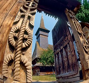 Traditional Carved Gate in Maramures, Northern Romania