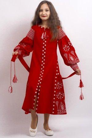Сукня для дівчинки «Розкіш» виконана з натуральної лляної тканини червоного  кольору. Довгий рукав і спідниця сукні прикрашені цікав…  55b558ff48c9c