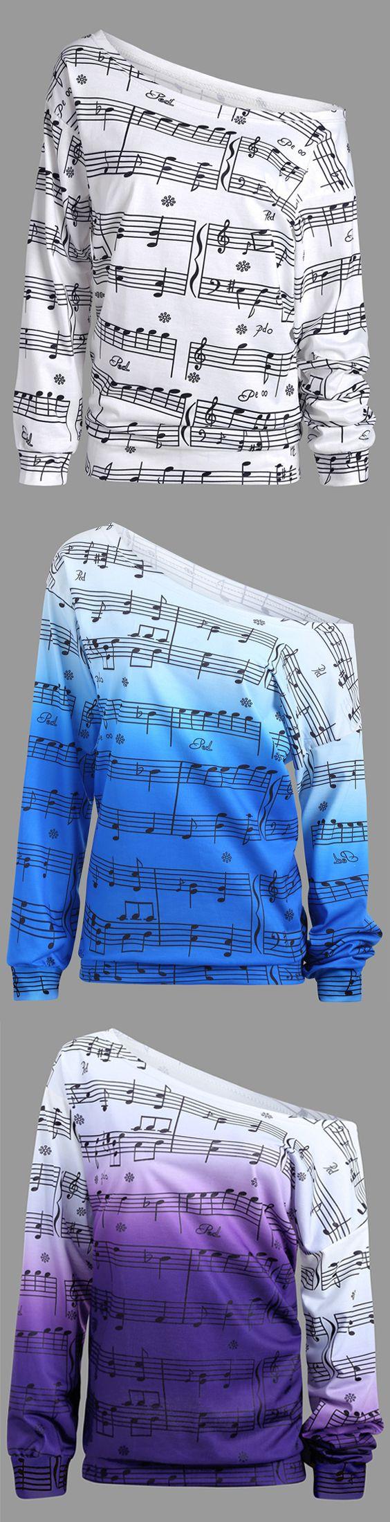 Long Sleeve Musical Notes Print Sweatshirt