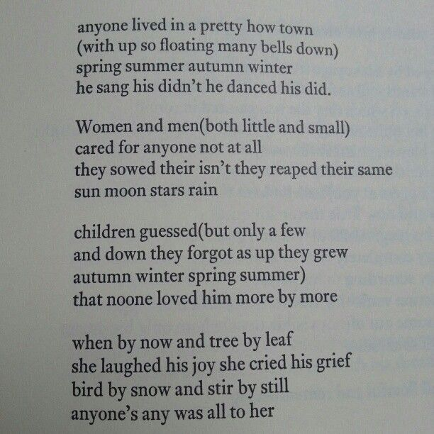 ee cummings anyone lived in Poetry by e e cummings has 16 ratings and 1 review pmchapters: anyone  lived in a pretty how town, l(a, tulips and chimneys, puella mea, is 5, no  thank.