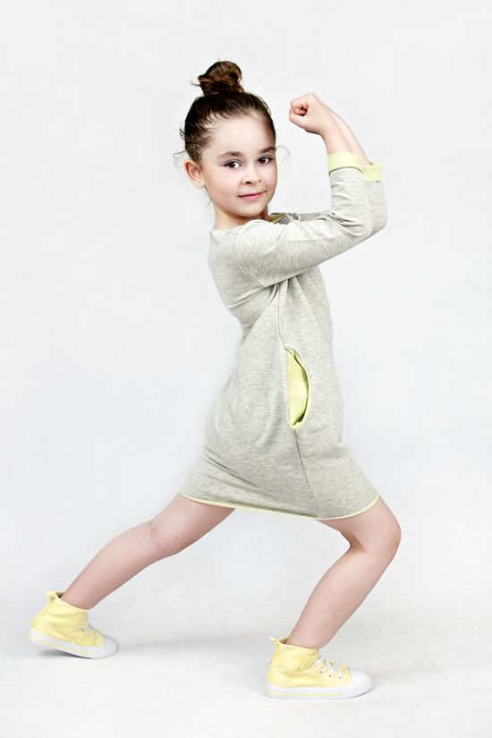 The Same sweatshirt dress with lime comfortable girl dress girl tunic with long sleeves www.thesame.eu