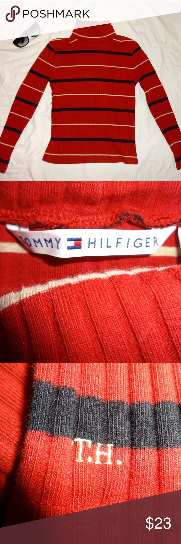 Tommy Hilfiger Turtleneck Sweater Red turtleneck sweater with black and cream stripes. Gently used. No flaws. Tommy Hilfiger Tops