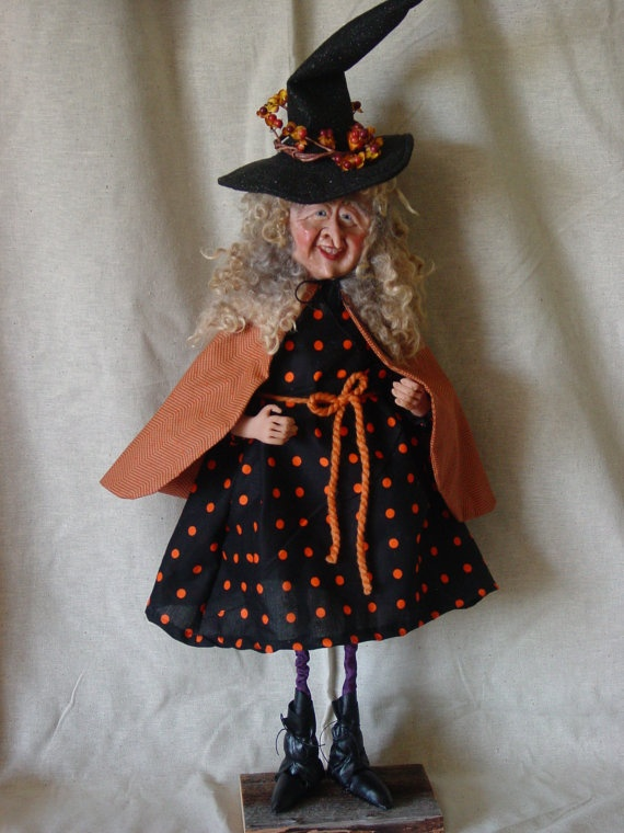 OOAK Halloween witch Doll by passionforsantas on Etsy, $195.00