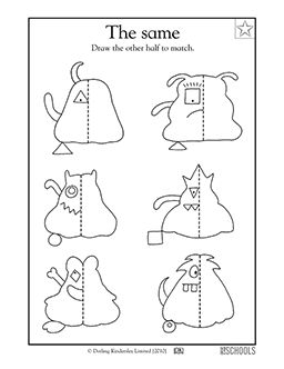 A line of symmetry is the exact middle of a shape. In this coloring math worksheet, your child will draw the other half of each monster.