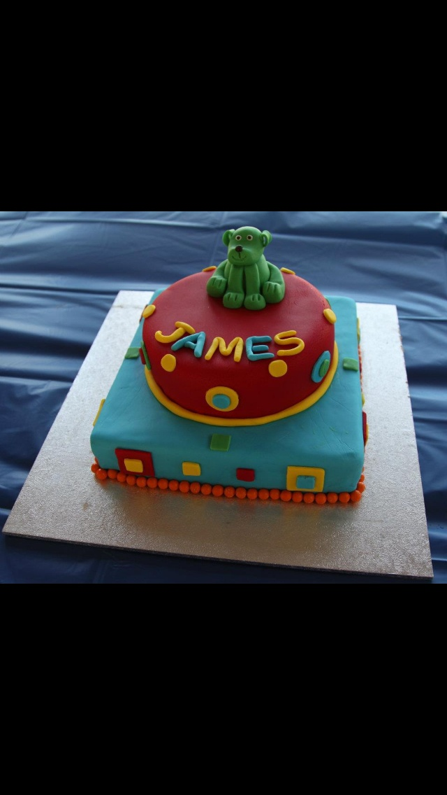 James' 1st Birthday cake and my first ever cake decorating attempt.
