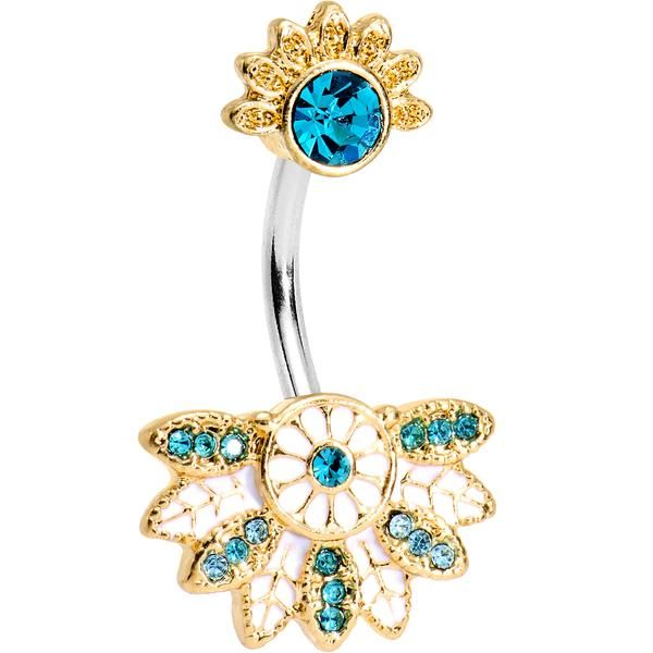 Aqua Gem Tropical Flowering Fan Double Mount Belly Ring