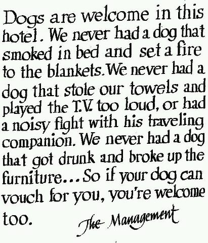 Dogs are welcome in this hotel.  We never had a dog that smoked in bed and set a fire to the blankets.  We never had a dog that stole our towels and played the tv too loud, or had a noisy fight with his traveling companion.  We never had a dog that got drunk and broke up the furniture...so if your dog can vouch for you, you're welcome too!  - the Management