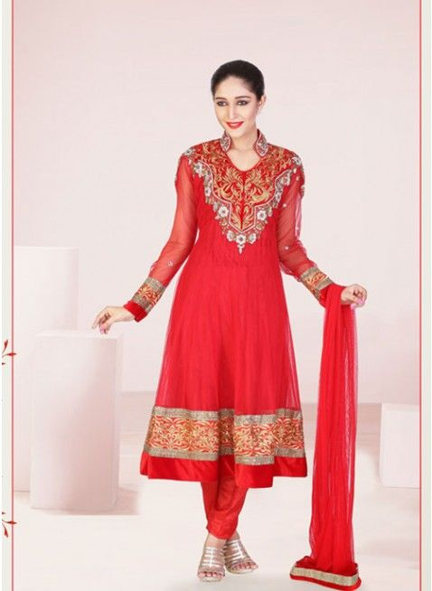 Rose Madder Red embroidered #anarkali_suit with beautiful patch patti work