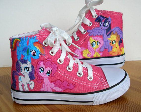 Hand painted Children My Little Pony shoes, Princess Twilight Sparkle, Applejack, Rainbow Dash, Fluttershy, Rarity, Pinkie Pie