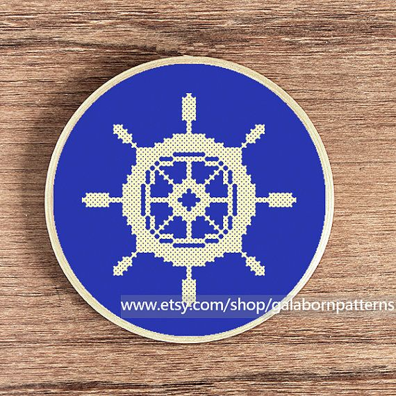 Tittle: Nautical wheel.  Nautical collection.  Item include only one pattern (image 1)    This PDF counted cross stitch pattern available for