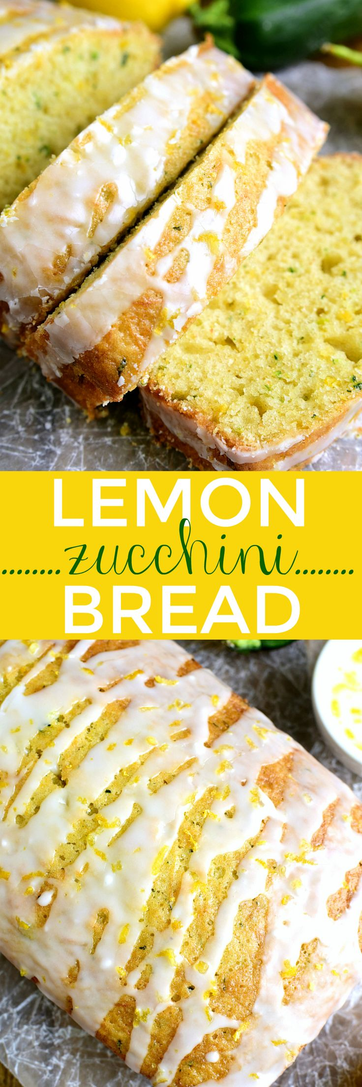 This Lemon Zucchini Bread combines two favorites in one delicious loaf of bread! Topped with a sweet lemony glaze, it's a great way to sneak in extra veggies and the BEST way to wake up! (Baking Powder Garden)