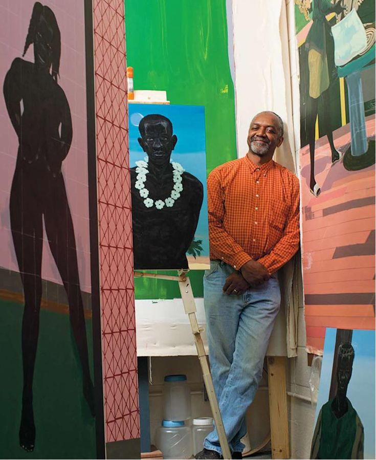 Kerry James Marshall uses painting, sculptural installations, collage, video, & photography to comment on the history of Black identity both in the United States and in Western art. He is well known for paintings that focus on Black subjects historically excluded from the artistic canon; has explored issues of race & history through imagery ranging from abstraction to comics.