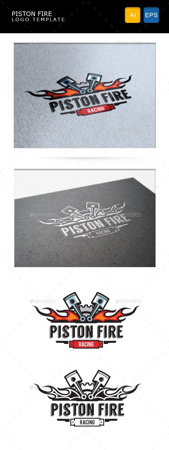 Car body sticker design eps - Piston Fire Automotive Logoautomotive Designlogo