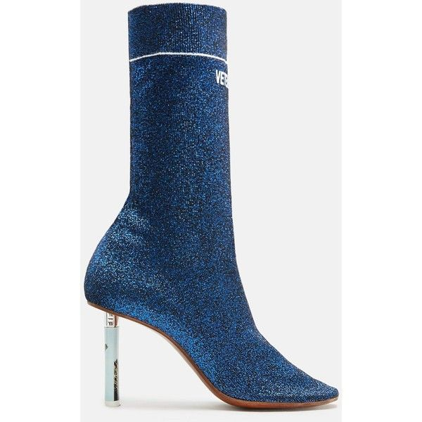 Socks Ankle Boots ($925) ❤ liked on Polyvore featuring shoes, boots, ankle booties, glitter ankle booties, glitter booties, sock bootie, print boots and stretch booties