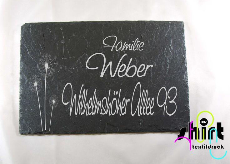 Hausnummern - S72 Pusteblume Namensschild Türschild Schiefer - ein Designerstück…