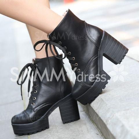 Estilo Retro Heel Chunky e botas curtas de gravura Projeto Mulheres