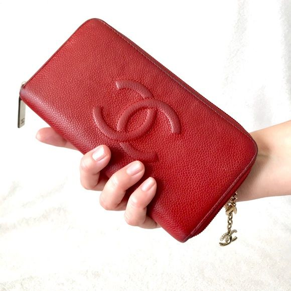 Auth Chanel CC Caviar Zippy Long Wallet Purse   Caviar, Large wallet and  Handbag e318799139