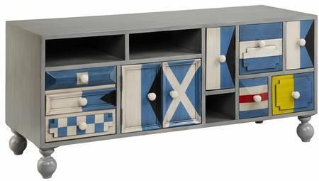 "Sailmaker 13146 53"" 4-Door 6-Drawer Console with Open Storage Compartments Flag Semaphore Motif and Turned Legs in Gray"