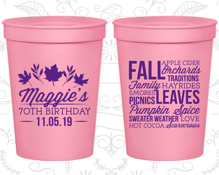 70th Party Favor Cups, Fall Birthday, Leaves Birthday, Party Favor Cups, Fun Birthday Cups (20228)