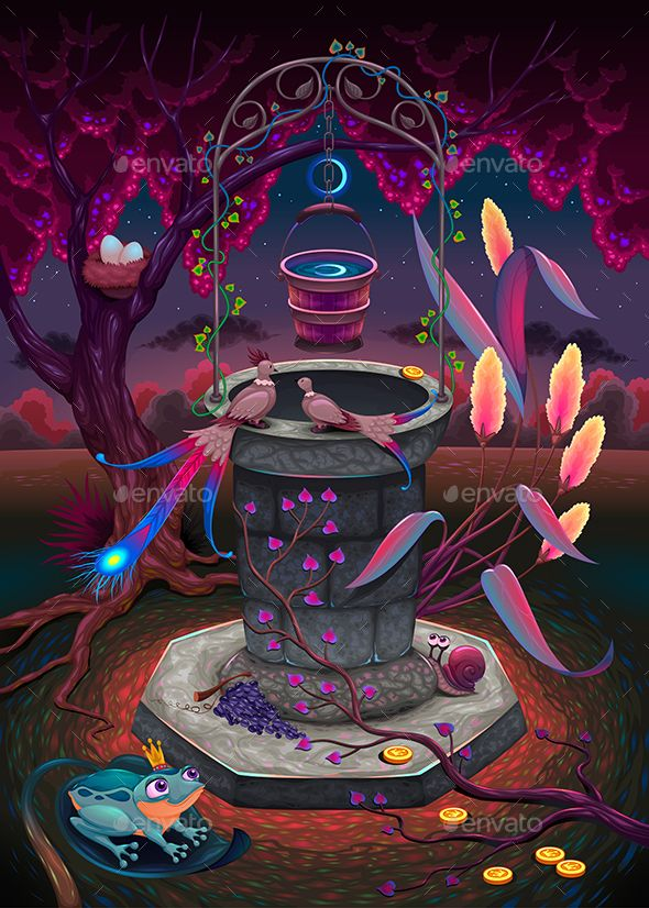 The Wishing Well In A Magic Garden Fonts Logos Icons Pinterest