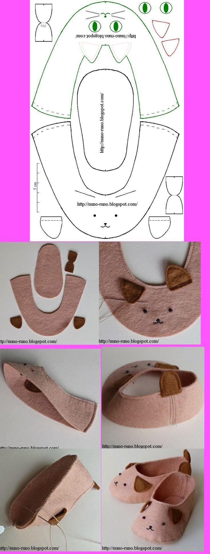 Modèle : chaussons en feutre - taille à adapter