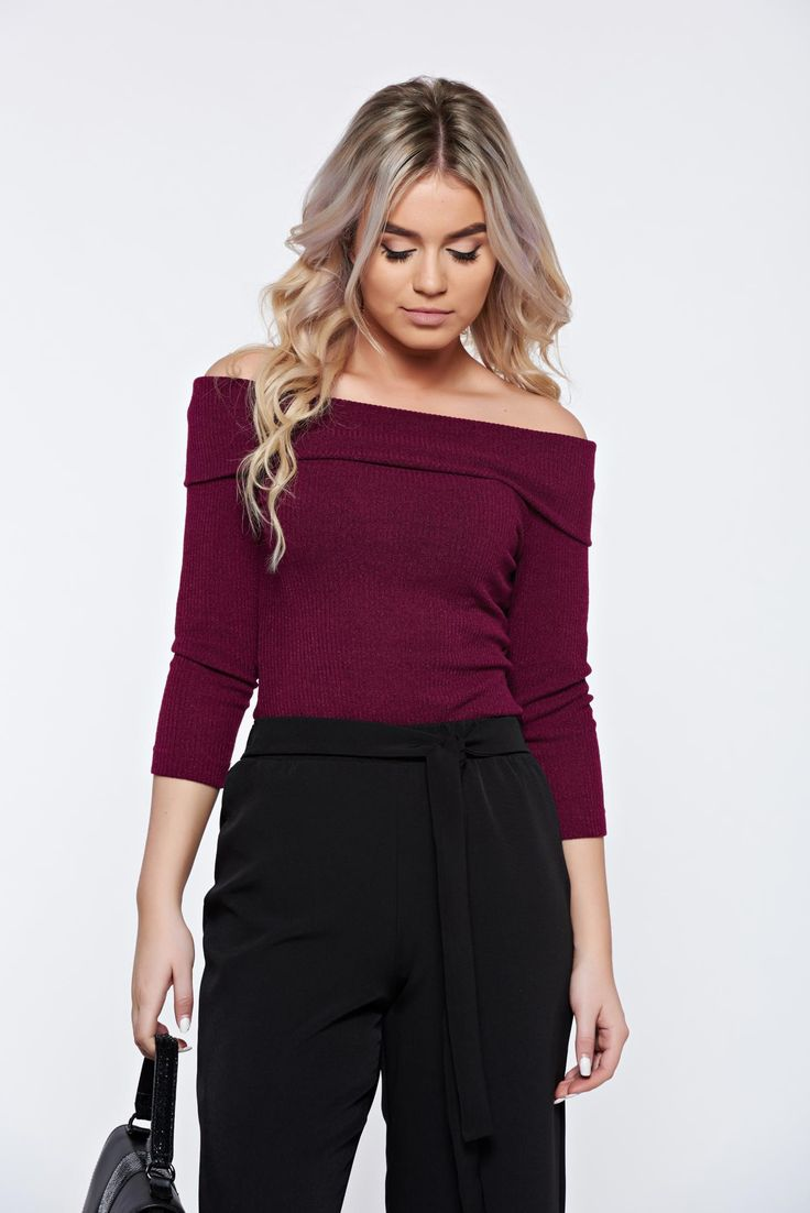 Sweater StarShinerS timeless romance purple casual knitted tented on the shoulders, tented cut, elastic fabric, on the shoulders, women`s sweater, Timeless Romance