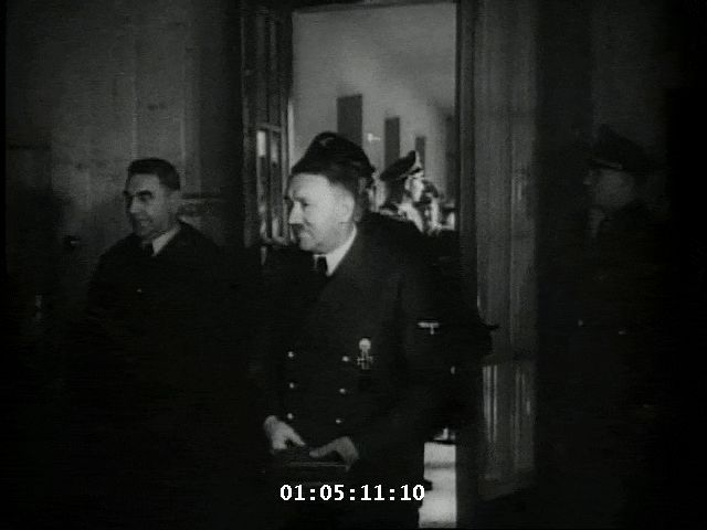 Some film of Hitler taken late in his life. This is 1944 and he's greeting some Croatian officials. His valet. Heinz Linge, takes his cap here in the last sequence. By 1944, Hitler was a physical wreck. He suffered from jaundice late in the year, hand tremors, he dragged his left leg, and was drug addicted to the dangerous assortment of drugs that Dr. Morell injected him with.
