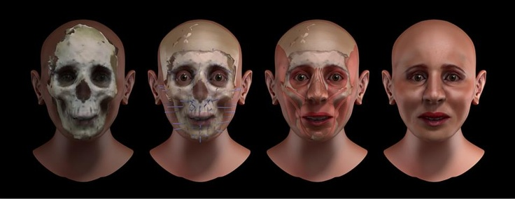 Forensic facial reconstruction of a unknown mummy scanned from a video. See the step-by-step: https://plus.google.com/photos/115430171389306289690/albums/5856903432134303473