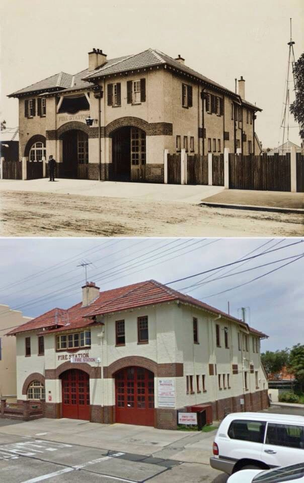 Drummoyne Fire Station, Lyons Road, Drummoyne, in 1910 and 2009.  [1910 - State Records NSW>2009 -Google Street View/by Phil Harvey]