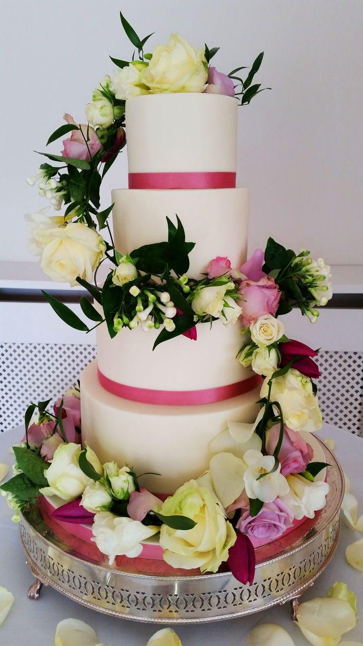 OCC - Wedding Cake Gallery   Odiham Cake Company  #wedding #simple #cake #flowers