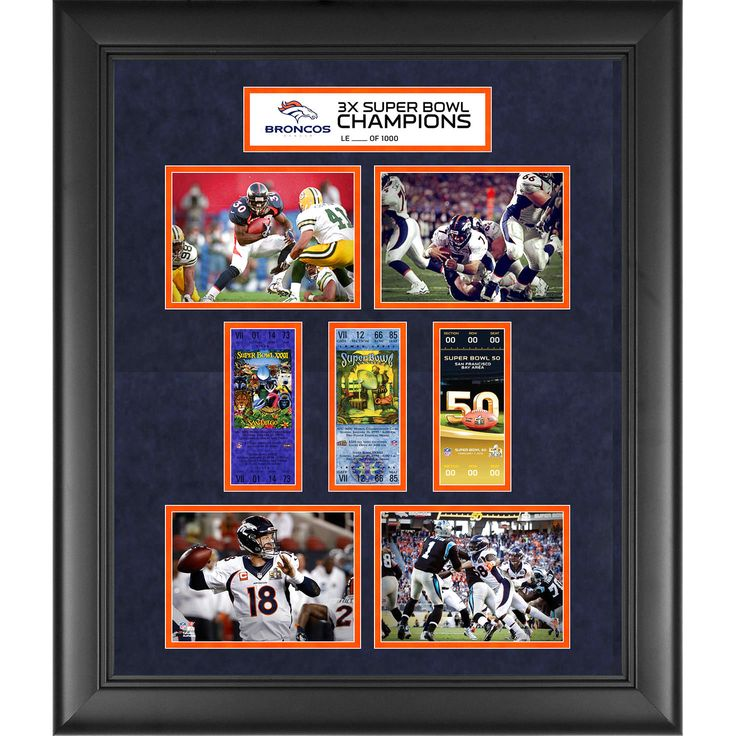 "Denver Broncos Fanatics Authentic Framed 20"" x 24"" Super Bowl 50 Champions 3-Time Super Bowl Champs Replica Ticket and Photo Collage - $111.99"