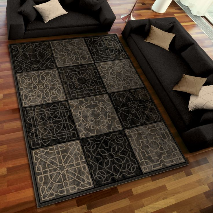 Aria Rugs Galaxy Dark Domino Area Rug In Black