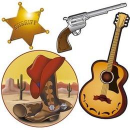 Decoratie western set 4 stuks -  Een western set bestaande uit een sheriffster, gitaar, pistool en een laars met hoed. De doorsnede van deze papieren decoraties is ongeveer 40 cm. | www.feestartikelen.nl