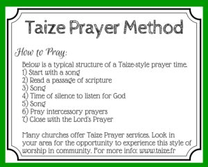 Free printable prayer card for Taize style prayer