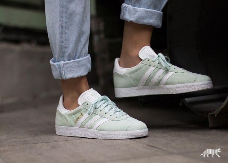 adidas Gazelle (Ice Mint / White / Gold Metallic)   Adidas shoes ...