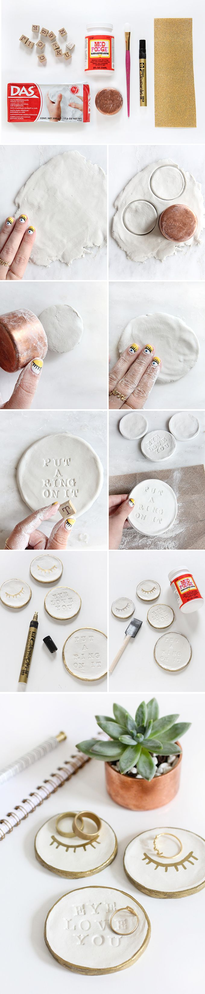 Create this ring dish using air dry clay and alphabet stamps