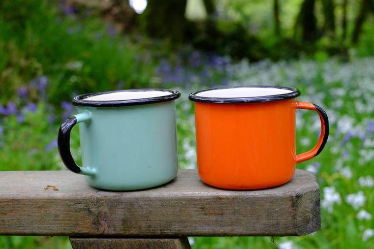 Set Of Four Enamelware Camping Mugs