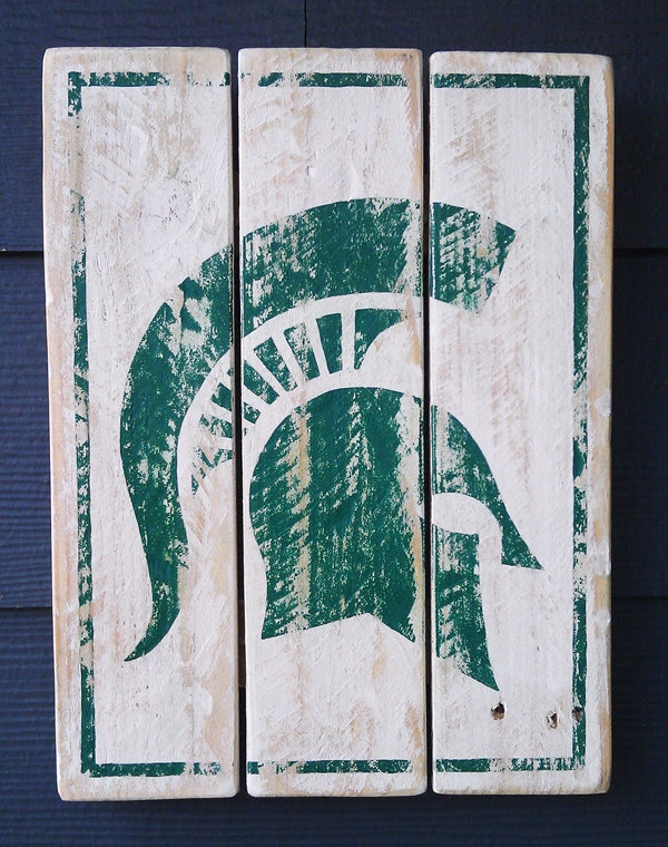Michigan State, Spartans, Vintage-looking Pallet wood hand made, hand painted sign. $38.00, via Etsy.