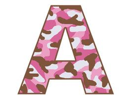 Pink And Brown Camo Upper Case Alphabet Letters Digital