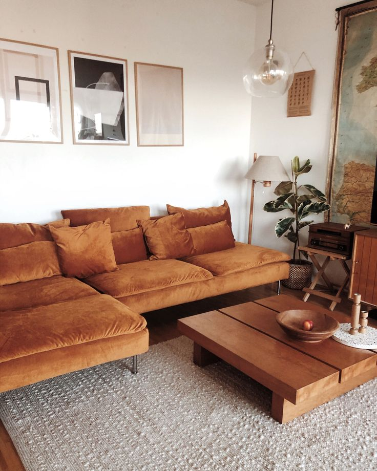 Give your sofa a bold makeover with a Cognac Velvet slipcover | Loving the retro…   – Interior Design & Architecture
