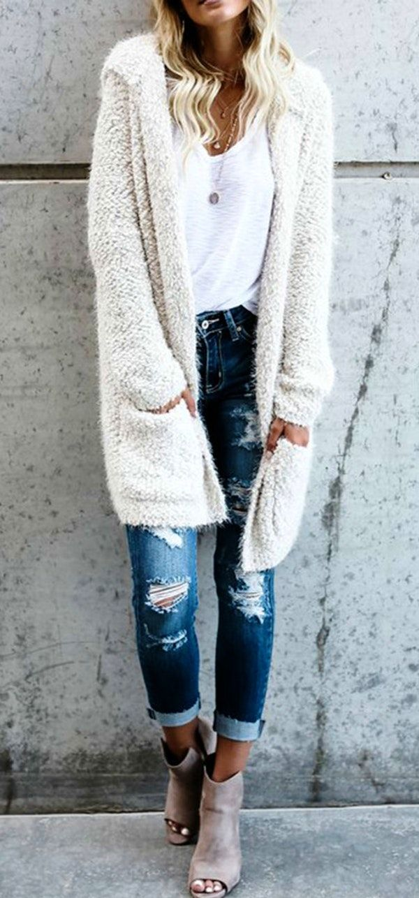#winter #outfits knitted white cardigan