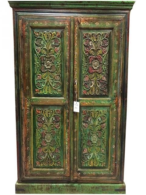 Floral Carved Wood Armoire Hand Painted Cabinet Indian Furniture