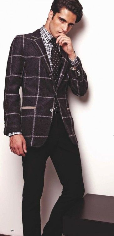 Window pane blazer and mixed prints