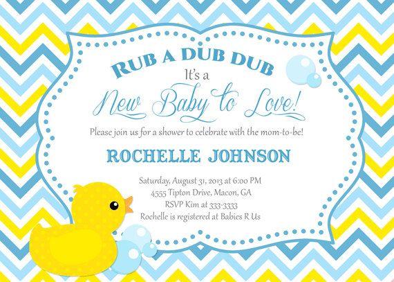 Modern Blue U0026 Yellow Chevron Rubber Duck Baby Shower Invitation   Printable