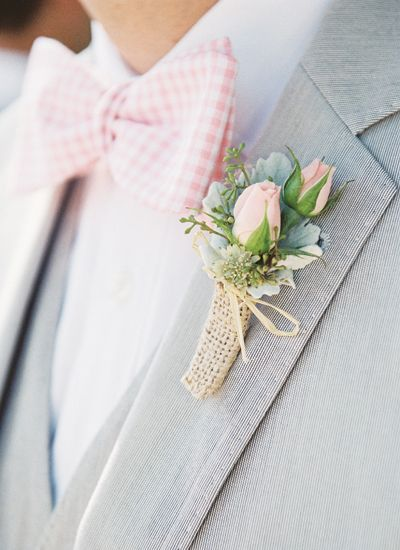 burlap + pink rose boutonniere + gingham bow tie http://cincinnati-northern-kentucky-dayton.perfectweddingguide.com/all/wedding-fashion/