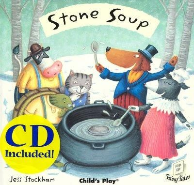 Presents the tale of a band of travelers who arrive in a village and begin cooking soup with water and a stone, and when everyone makes a contribution to the pot the town enjoys a feast, in a book wit