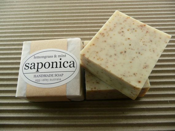 Handmade Natural Lemongrass and Mint Soap by Saponica by saponica, $6.00