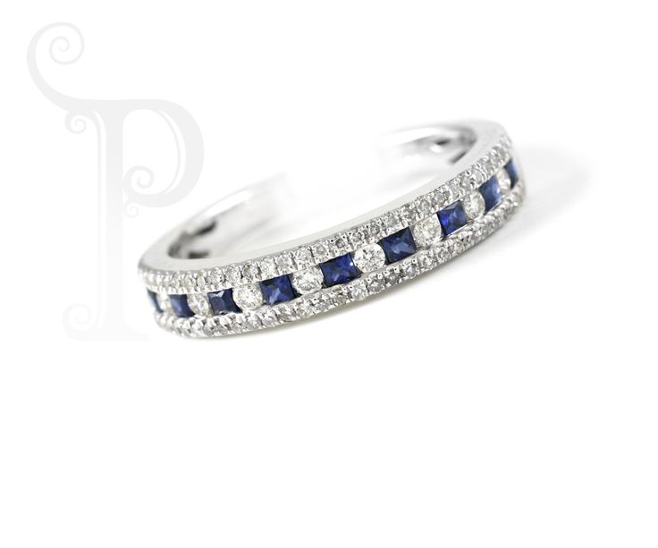 Handmade 18ct White Gold Eternity Ring, Set With Sapphires and Round Brilliant Cut Diamonds