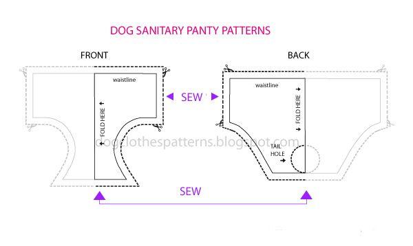 Free Dog Clothes Patterns: Dog sanitary panty diaper nappy patterns